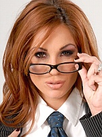 Kirsten Price stripping in the conference room